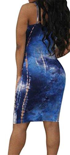Domple Femmes Bodycon Tie-teints Sexy Fines Bretelles Club Robe De Soirée Bleu