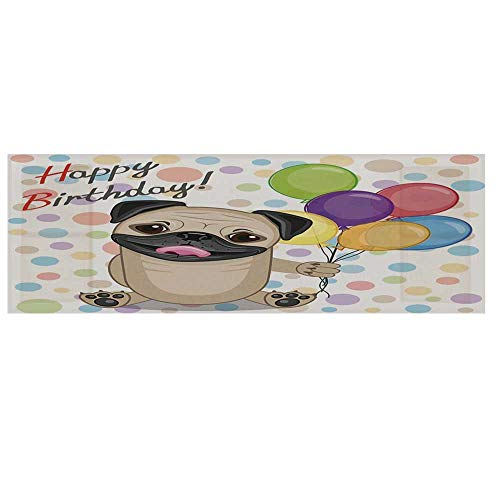 Birthday Decorations for Kids Microwave Oven Cover with 2 Storage Bag,Animal Cute Dog Smiling Pug with Party Balloons Greeting Card Cover for Kitchen,36