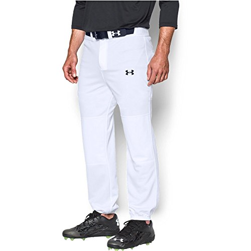Under Armour Men's Clean Up Cuffed Baseball Pants, White/Black, Small