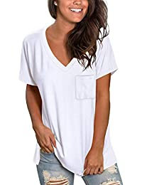 Womens Short Sleeve V Neck T Shirts Loose Casual Summer Tops Tees with Pocket