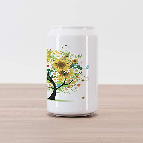 (Lunarable Sunflower Cola Can Shape Piggy Bank, Floral Tree with Daisies Sunflowers Butterflies Ladybugs Spring Fantasy Joyful, Ceramic Cola Shaped Coin Box Money Bank for Cash Saving, Multicolor)
