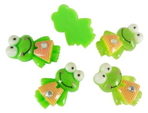 Resin Keroppi Frog Stripe Dress Flat Back Scrapbooking Embellishments Supplies Cabochons Appliques Alligator Clips
