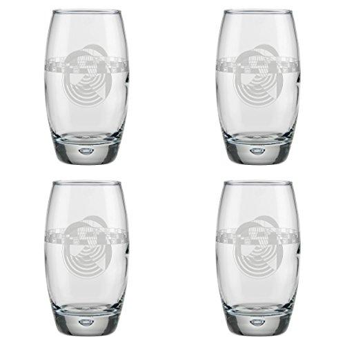 Frank Lloyd Wright Hoffman House Rug Set of 4 (16-Ounce Oxygen Cooler Glass, Hoffman House Rug) ()