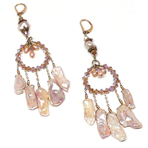 - Chandelier Bridal Statement Earrings Mauve Kishi Cultured Pearl Crystal Hoop