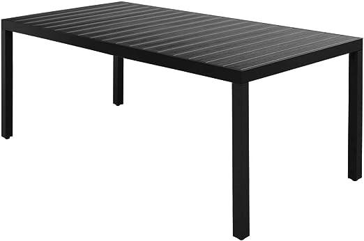 Xinglieu Mesa de Comedor para jardín WPC Aluminio, Color Negro mesas Exterior Mesa de Comedor: Amazon.es: Jardín