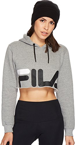 Fila Women's Pam Hoody, Grey Heather, Black, L