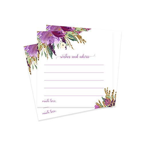 Purple Floral Advice Cards (25 Pack) for Weddings, Girls Baby Shower Games, Engagement Party, Graduation, Birthday, Time Capsules, Retirement