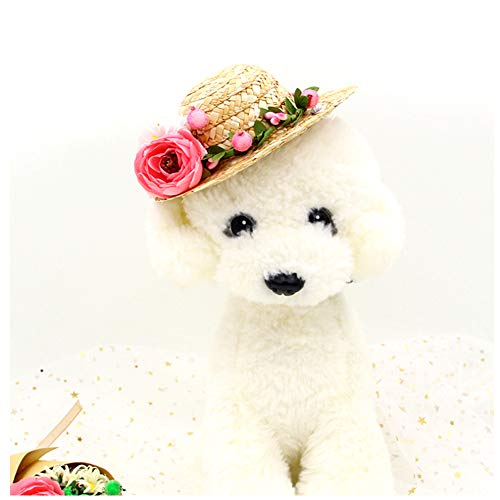 NACOCO Cat Hat Sunflower Straw Hat Handcrafted Rose Lovely Sun Cap Accessories for Small Dogs and Cats Photograph (M, Pink)