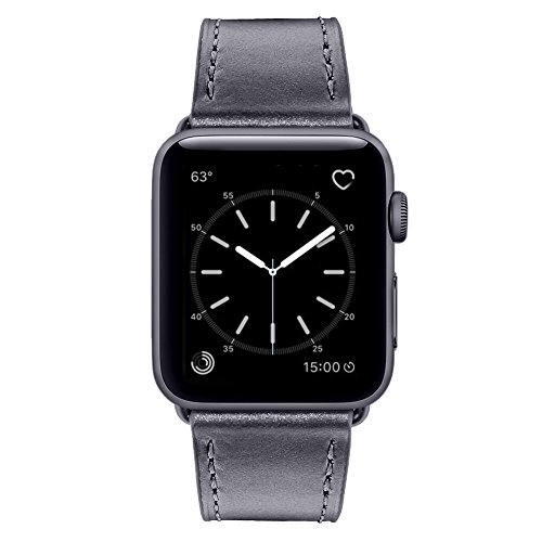 Marge Plus for Apple Watch Band 38mm, Classic Genuine Leather 2 Tone Style iWatch Band with Stainless Metal Buckle Replacement Strap for Apple Watch Series 3/2/1 Hermès Nike+ Sport Edition, Space Gray (Two Tone Metal)