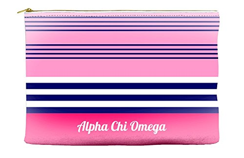 Alpha Chi Omega (AXO) Color Block Pink Cosmetic Accessory Pouch Bag for Makeup Jewelry & other Essentials -  Greek U, aco-coblockpink-accpch85