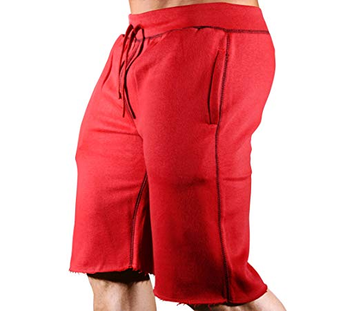 (HRD LVN Mens Workout Shorts Classic (2X-Large, Red SweatShorts))