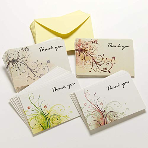 Premium Blank Thank You Cards - 36 Floral Theme Notes with Envelopes and Bonus Stickers - 4x6 Inches
