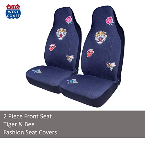 West Coast Auto Car Seat Covers for Cars, Trucks, Vans, SUV, Crossovers - Fashion Denim Badge Embroidery, Universal Fit, Airbag Compatible - Tigers Fashion Pack