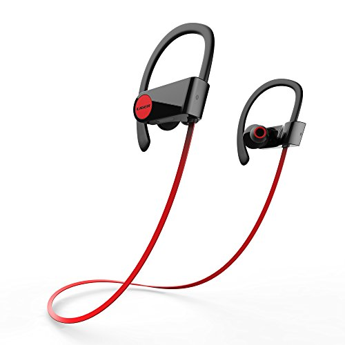 Bluetooth Headphones, Liger Blaze SweatProof Wireless Bluetooth 4.1 Earbuds Noise Cancelling, Superb Sound with Mic - Great for Running, Gym, Exercise - Red