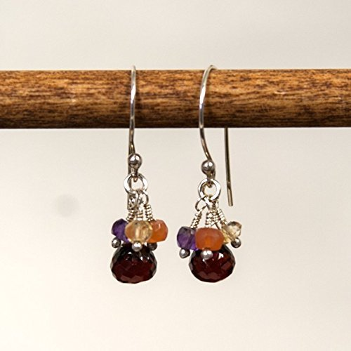 Sterling Silver and Garnet Dangle Earrings with Amethyst, Citrine and Sunstone