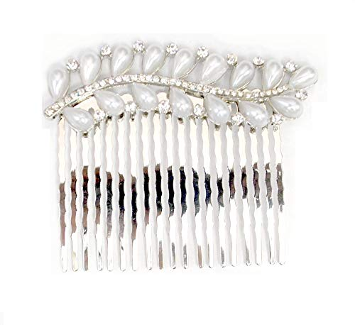 Women's Bohemian Ivory Color Simulated Pearl Flower Beaded Crystal Wedding Bridal Hair Comb Clear (Silver) by Love My Seamless (Image #1)