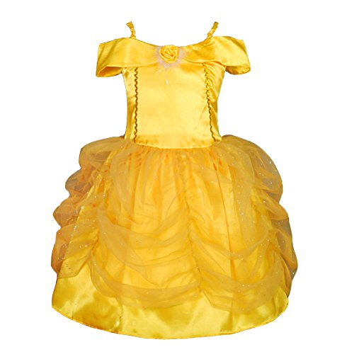 Princess Dresses (Dressy Daisy Girls' Belle Princess Costume Party Fancy Dresses Up Size 3-4T Gold)