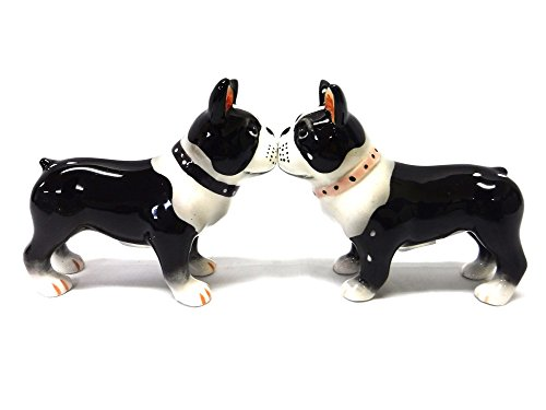 Salt & Pepper Shakers - Boston Terrier Pups Magnetic Salt And Pepper Shakers