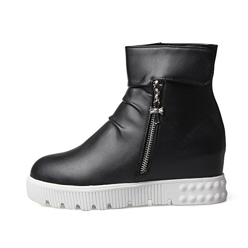 BalaMasa Imitated Zipper Black Platform Womens Velcro Leather Ring Boots gqOSwgr