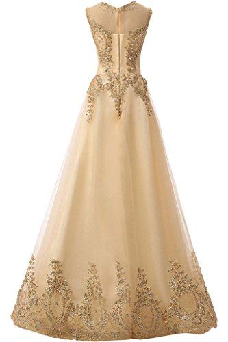Fest abito girocollo perle Champagne vestito partito Ball applicazione abito ressing Prom romantica da sera vestito del ivyd abito Donna BqpwOtZZ