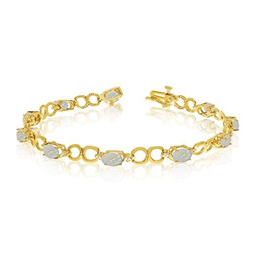 14K Yellow Gold Oval Opal and Diamond Bracelet 14k Yellow Gold Opal Bracelets
