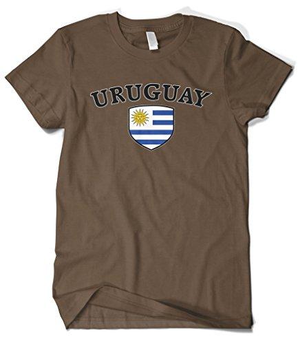 - Cybertela Men's Uruguay Flag Crest Shield T-Shirt (Brown, 4X-Large)