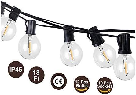 BRTLX Guirnalda Exterior Luminosas,18.3ft G40 Cadena de Luces LED ...