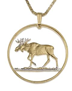Moose Pendant & Necklace, Poland 100 Zlotych Coin Hand Cut