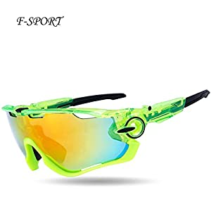 F-sport 2016 Newest Outdoor Sports Fashion Sunglasses.Great For Cycling Driving Hiking Skiing or Fishing.Changeable Lenses and Unbreakable High strength(Shiny Green)