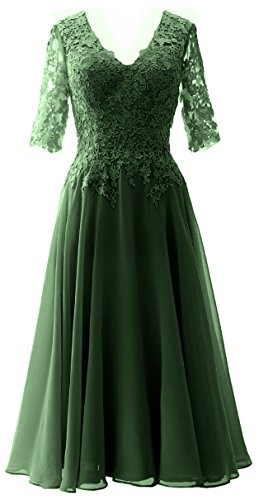 Gown Dress MACloth Dunkelgrun Sleeves Evening Half Women of Lace Formal Mother Bride The xPIwx