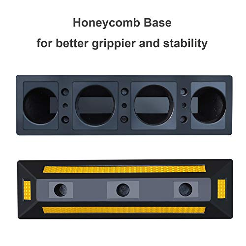 2 Pack Heavy Duty Rubber Parking Blocks Wheel Stop for Car Garage Parks Wheel Stop Stoppers Professional Grade Parking Rubber Block Curb w/Yellow Refective Stripes for Truck RV, Trailer 21.25''(L) by Reliancer (Image #5)