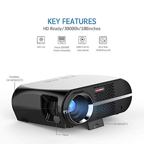 GuangXin HD Smart Projector, Video Projector,LCD 1080P Full-HD Level Image Quality, WXGA Resolution, in Your Living Bedroom Meet All Entertainment
