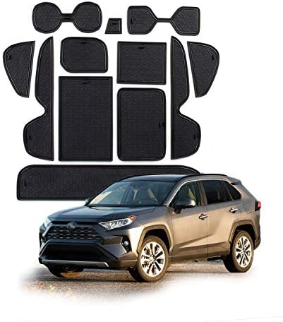 Cup Holder Liner Custom for Toyota RAV4 2019 Door Slot Pad Center Console Mats Blue