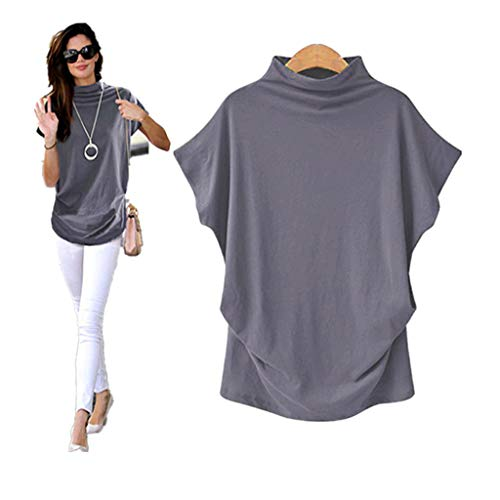 COOKI Women Shirts Turtleneck Short Sleeve Cotton Blouse T Shirt Casual Loose Tunic Tops Gray