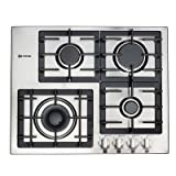 Verona VECTGM244SS 24' Designer Series Gas Cooktop With 4 Burner Design Front Controls Sealed Burners Heavy Duty Cast Iron Grates & Caps and 20 000 BTU tested in Stainless