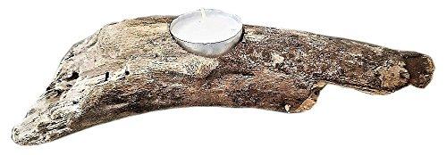 Natural Driftwood Candle Holder ( 1 Tea Light, 8-12 in long ) Handmade, Home Bath Garden Rustic Beach Decor Modern Tea Light (Centerpiece Driftwood Wedding)