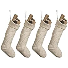 """Pack 4,18"""" Unique Ivory White Knit Christmas Stockings"""