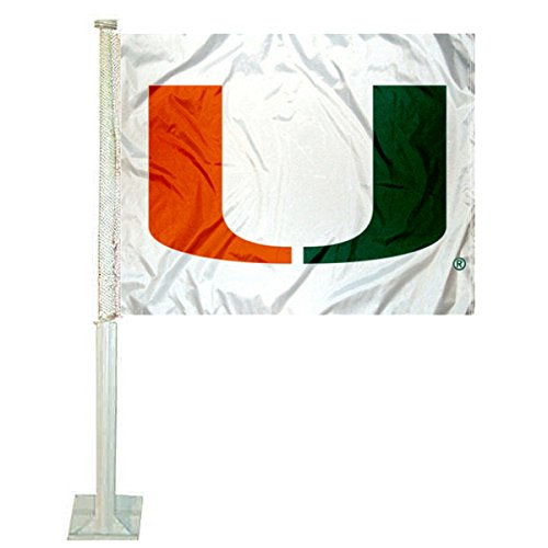 College Flags and Banners Co. Miami Hurricanes White Car Flag
