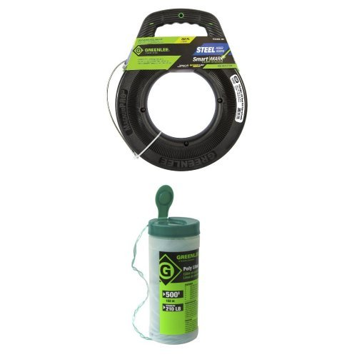 Greenlee FTS438DL-250 SmartMARK Laser Etched Steel Fish Tape with SpeedFlex Leader, 250-Feet & Greenlee 430-500 Poly Fish Line, Tracer Green, 500-Foot by