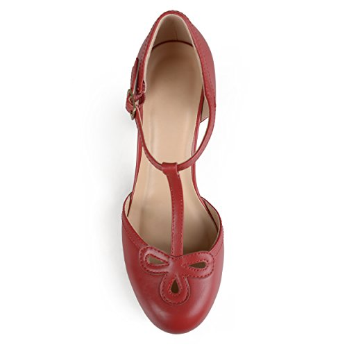 Journee Collectie Dames T-strap Ronde Neus Mary Jane Pumps Rood