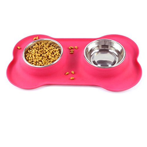 DEESEE(TM) Clearance Sale Double Dog Bowls Stainless Steel Bone Shape Food Container for Dogs Feeding Food
