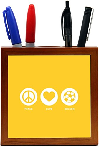 Rikki Knight Peace Love Soccer Yellow Color Design 5-Inch Tile Wooden Tile Pen Holder (RK-PH42777) by Rikki Knight