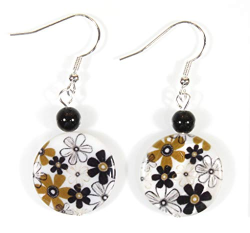 Style-ARThouse Daisy Power, Flower Print Mother of Pearl Earrings, Dangle 1.75 Inches -