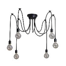 Signstek Retro Industrial Chandelier Vintage Edison Light Bulb Pendant Lighting Multiple Adjustable DIY Ceiling Lampshade Black (6 Bulbs)