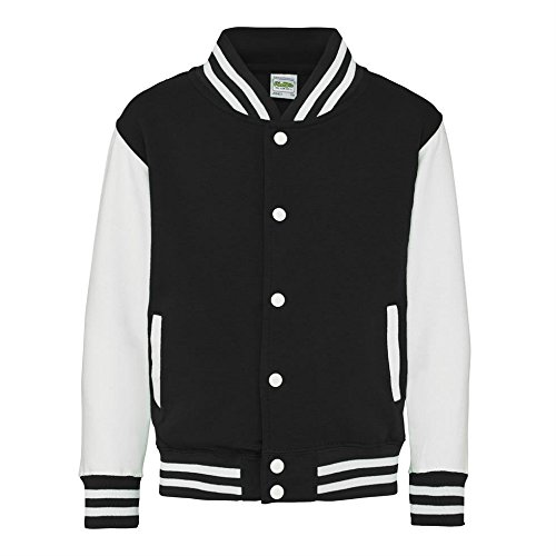 AWDis Hoods Big Boys' Varsity Letterman Jacket Jet Black / W