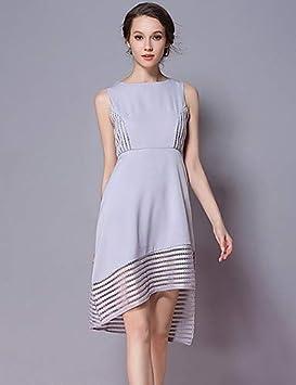 YFLTZ Vestido Vintage Elegante/Chic para Mujer - Color sólido/Encaje geométrico/Corte