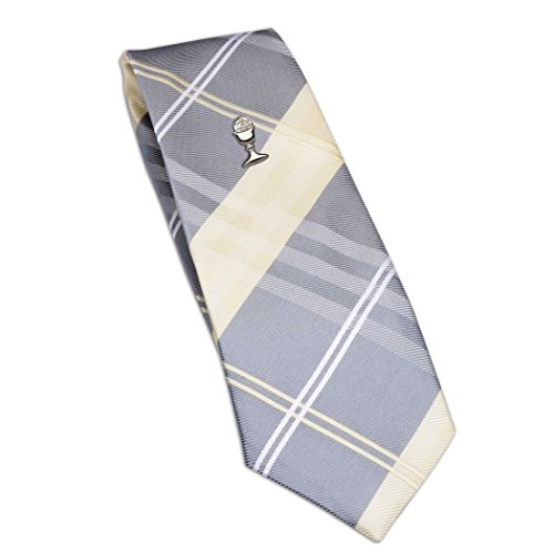 Boys First Communion Tie Yellow Plaid and Silver-Tone Chalice Tie Pin, ()