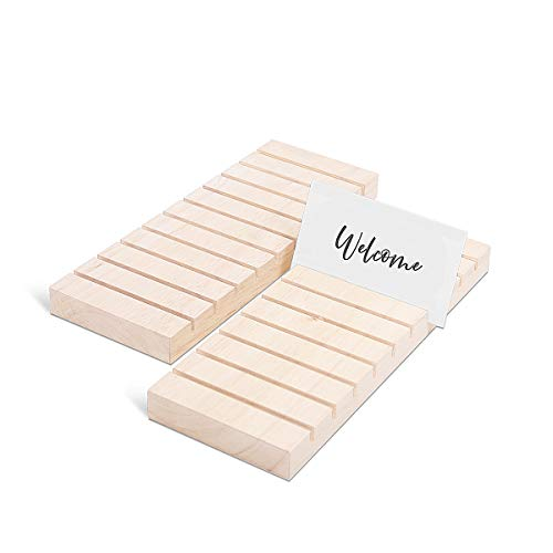 UNIQOOO Place Card Holders for Wedding & Event | Oak Wood Escort Card Guest Seating Display Stands | Name Cards Base | Perfect for Wedding Dinner Party Bridal Shower Events Decor, 10 Slots, Pack of 12