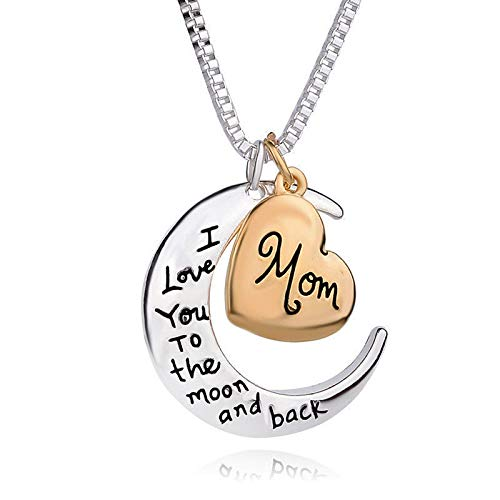 Orchid Pendant Lighting - I Love You To The Moon And Back Heart Mom Gold Silver Pendant Necklace Gifts