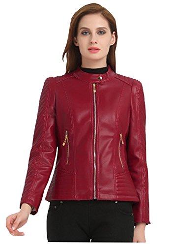 Courte Veste Vin motard femm Blouson Veste Manteaux Jacket PU Aviateur de Rouge Classique Cuir CpgIqAnxtw